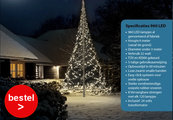 Vlaggenmast kerstverlichting Fairybell 960 Led