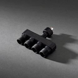 Kerstverlichting LED koppelbaar 4-Weg verdeler  31V, zwart