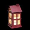 Metalen rood huisje met warm witte LED lampjes