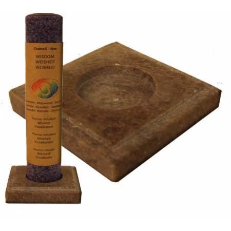 Vierkante Kandelaar Zeepsteen Natural voor Chakra Tafelkaarsen