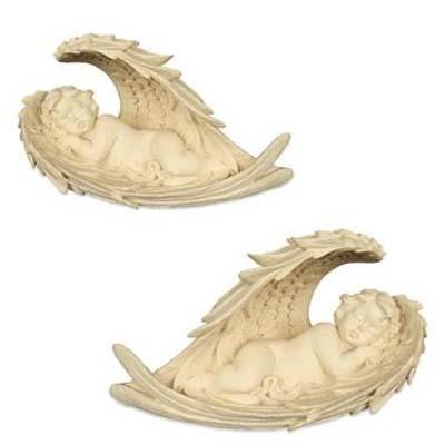 Set van 2 Beelden Sleeping Angels in Wings