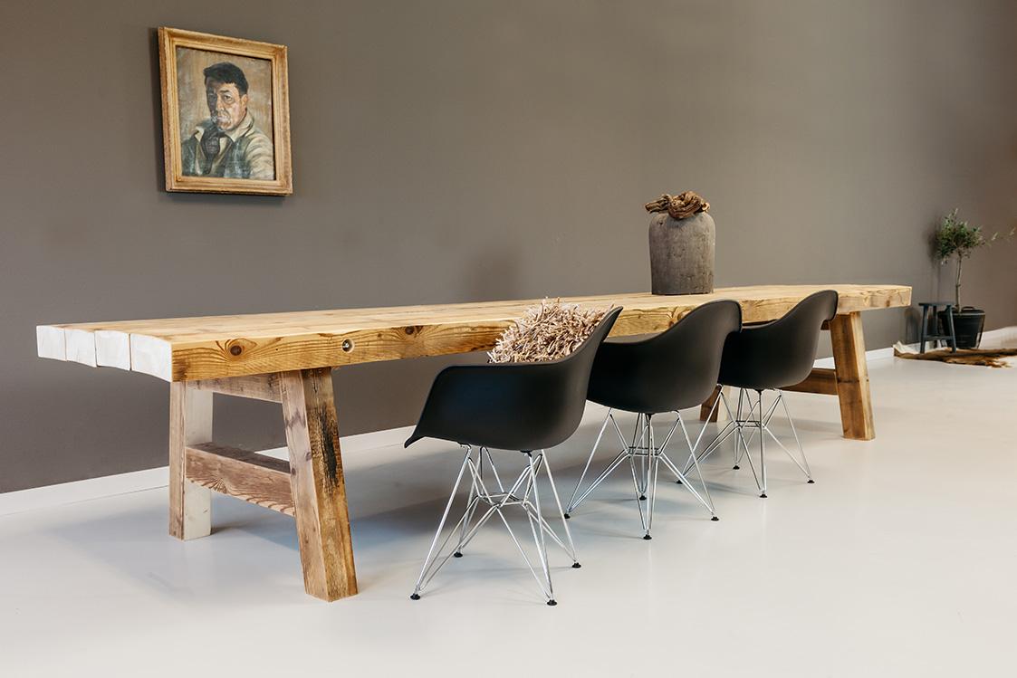 Houten Tafel Ijzeren Onderstel  Eetkamertafel wit met houten blad u2013 artsmedia info  Tafels