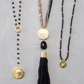 Rosary Long Shell black ketting*