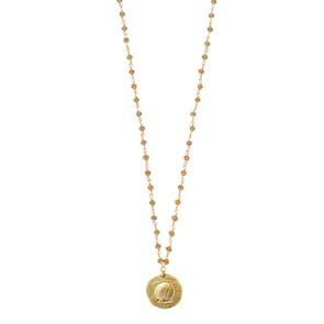 Rosary Shell orange necklace