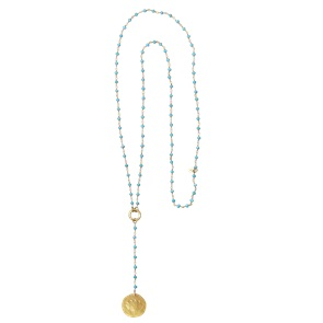 Rosary Long Lotus turquoise ketting*