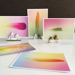 Set of 5 gradient Feather Postcards