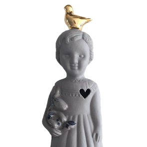 Grijs popje goud duif
