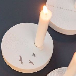 Candle holder birds quote