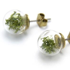 Oorbellen groen mos*