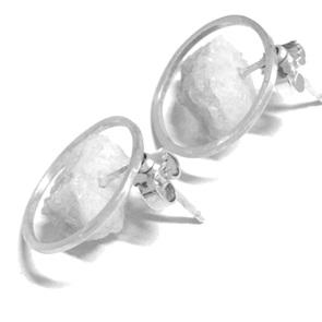 Candy Gem oorbellen zilver blauw