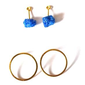 Candy Gem oorbellen goud blauw
