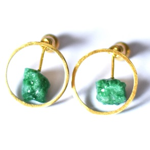 Candy Gem earrings gold green