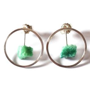 Candy Gem earrings silver green