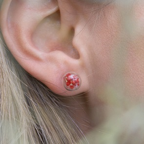 Oorbellen rode bloempjes*