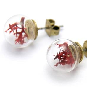 Oorbellen rood mos*