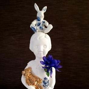 Popje blauw konijn