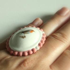 Ring roodborst roze