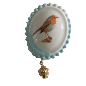 Broche roodborst blauw
