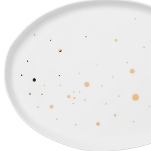 Dish oval golden dots