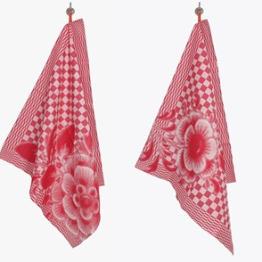 2 Teatowels red flowers
