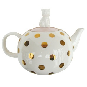 Theepot Poes gouden dots