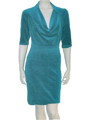 jurk met drape hals velours
