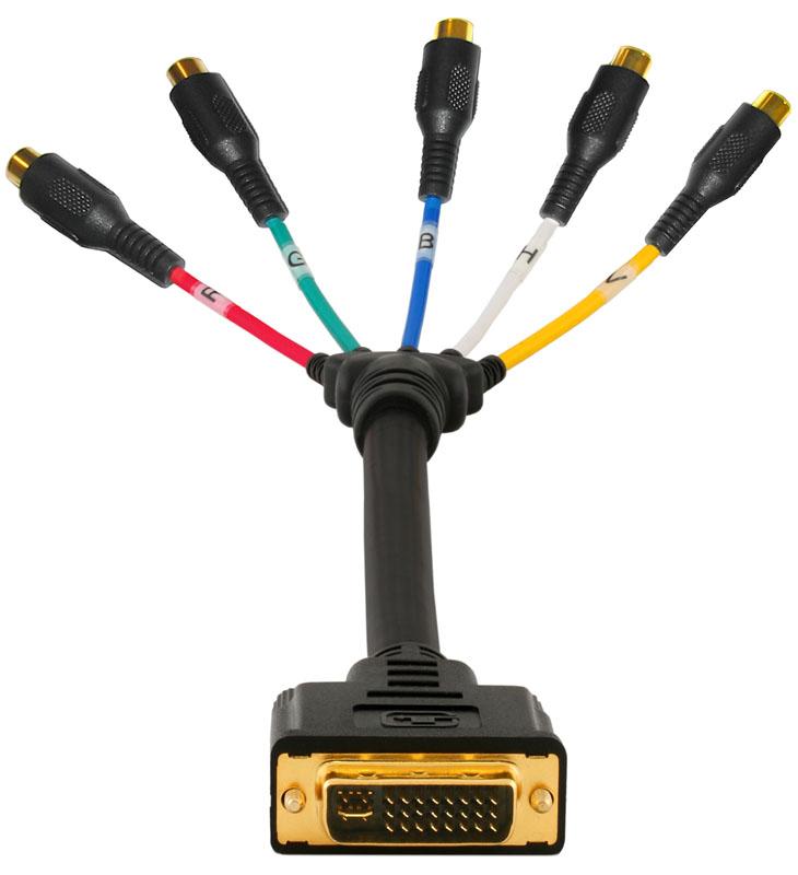 Adapter Cable DVI-I Male to RGBHV 5x RCA Female  DVI-8414b