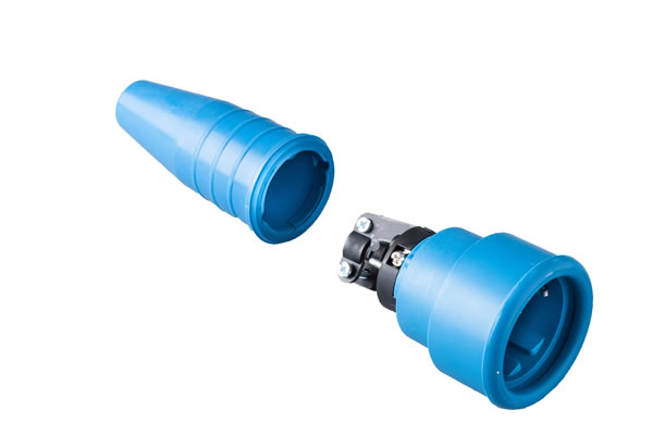 Volrubber koppelcontactstop 16A, 250V in de kleur contact blok blauw-greep blauw