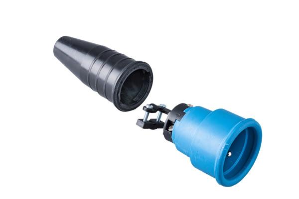 Volrubber koppelcontactstop 16A, 250V in de kleur contact blok blauw-greep zwart