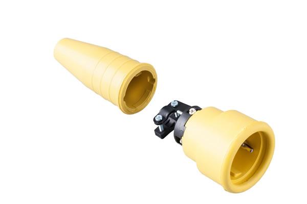 Volrubber koppelcontactstop 16A, 250V in de kleur contact blok geel-greep geel