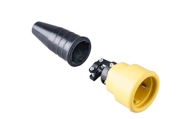 Volrubber koppelcontactstop 16A, 250V in de kleur contact blok geel-greep zwart