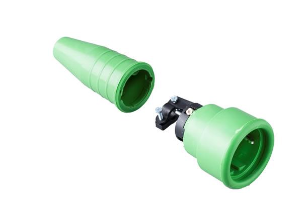 Volrubber koppelcontactstop 16A, 250V in de kleur contact blok groen-greep groen
