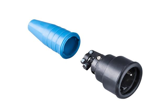 Volrubber koppelcontactstop 16A, 250V in de kleur contact blok zwart-greep blauw