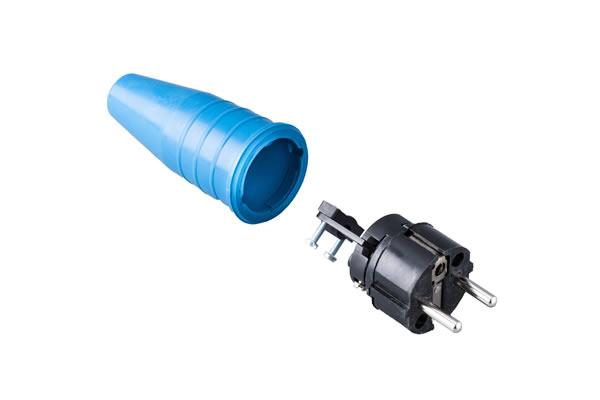 Volrubber contactstop 16A, 250V in de kleur contact blok zwart-greep blauw