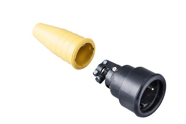 Volrubber koppelcontactstop 16A, 250V in de kleur contact blok zwart-greep geel