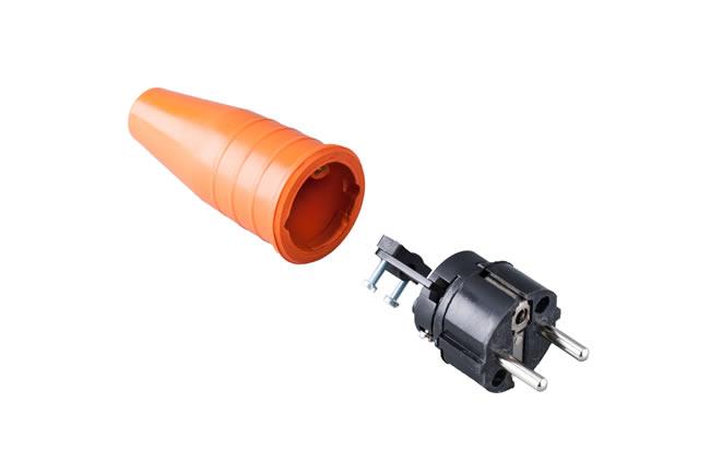 Volrubber contactstop 16A, 250V in de kleur contact blok zwart-greep oranje