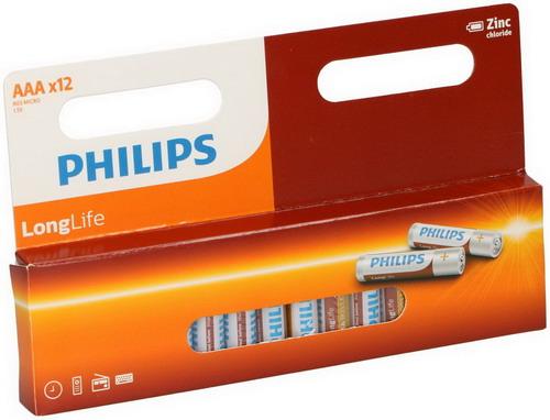 Philips Longlife R03 batterij (AAA) 1.5V 12 ST