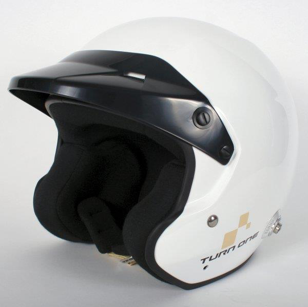 Turn One JET-RS open face helm met HANS clips Wit