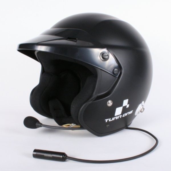 Turn One JET-RS open face helm met HANS clips Intercom Zwart