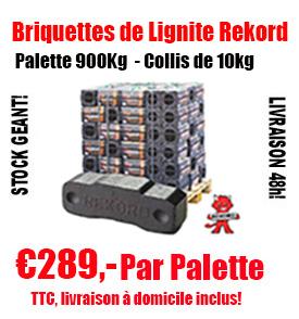 1 palette de briquettes de lignite sacs de 10 kg
