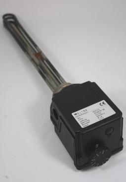 Elektr. verwarmingselement 4,5kWatt met thermostaat 5-80 gr. C.