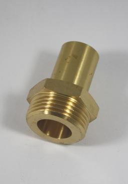 Verloopkoppeling van RVS ribbelbuis DN20 naar 22mm buis