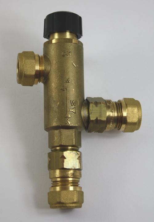 Duco thermostatisch mengventiel, 15mm knelkopp. Met keerkleppen