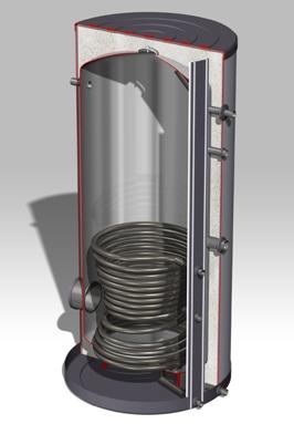 DJG roestvast stalen boiler 750 Liter, Staand model, 1 rvs warmtewisselaar