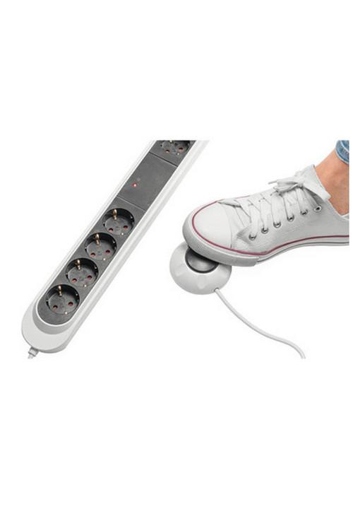 Stekkerblok 2 permanent 4 geschakeld, draad-voetschakelaar