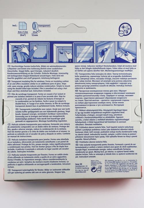 Tesa vensterfolie, instructie op de verpakking