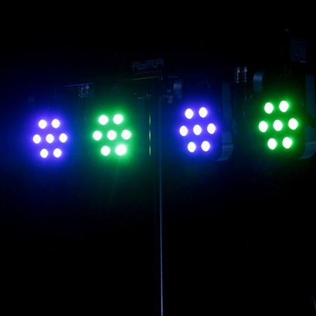 Feestverlichting Parspot huren, 7 Tri-Color Leds van 3 Watt op geluid