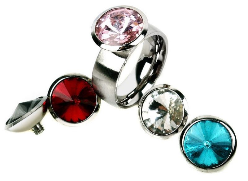 Ring incl. 5 tops zilver met swarovski kristal - 10 mm
