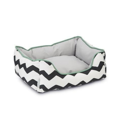 konijnen slaap mand wit groen en zwart