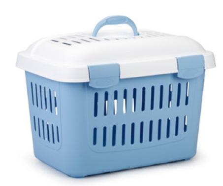 Trasport  koffer met deksel licht blauw